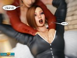 Dominatrix brunette strokes a pussy of her gf in the hottest 3D porn