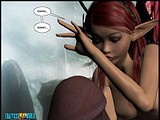 Amazing 3D session if a cute elfin satisfying a huge cock of her own size!